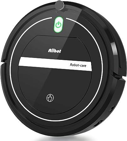 Aiibot Aspirateur Robot Slim Machine de Nettoyage à Aspiration Puissante, Efficace sur les Tapis, Moquettes et Sols Durs avec Télécommande, Nettoyage