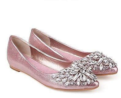 7587c6dda496 Women Flats Fashion Soft Bottom Diamond Pointy Toe Ballerina Ballet Flat  Slip On Women Shoes Pink