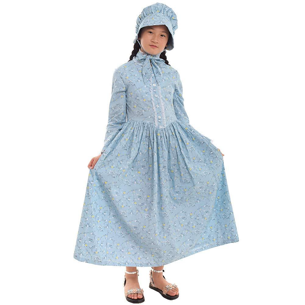 GRACEART Reenactment Pioneer Prairie Colonial Girl Costume 100% Cotton (US Size-06, Cream Blue)