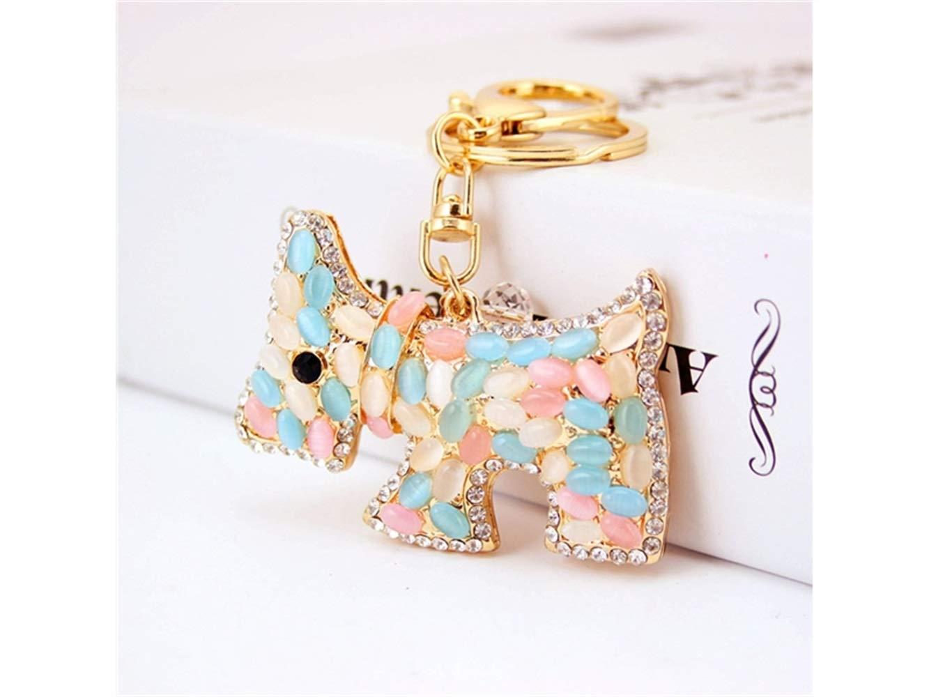 Special Creative Exquisite Opal Dog Keychain Animal Key Trinket Car Bag Key Holder Decorations(Colorful) Bag Pendant