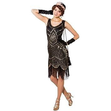 kostum 20er jahre deluxe gr l xl kleid gold schwarz paillettenkleid mit