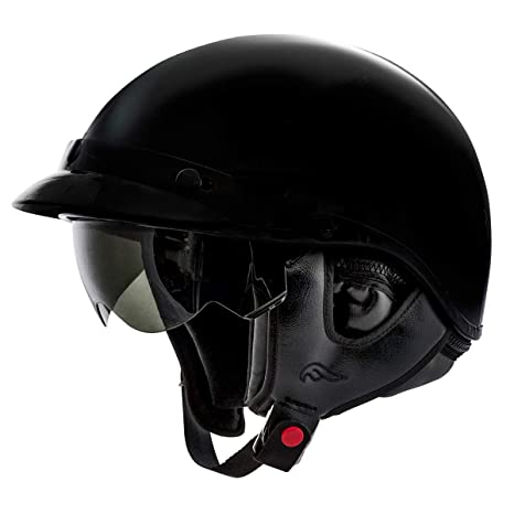 Fulmer Af 96b23005 Adult Motorcycle Half Helmet With Retractable Inner Sun Shade Gloss Black Medium