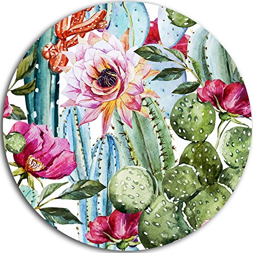 Cactus Pattern Watercolor Floral Digital Art Round Metal Wall Ar