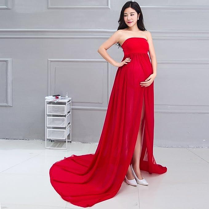 Vestido de embarazada sin manga larga de gasa Con un pantalón interior de regalo Vestido perfecto para fotografía Samber (Rojo): Amazon.es: Ropa y ...