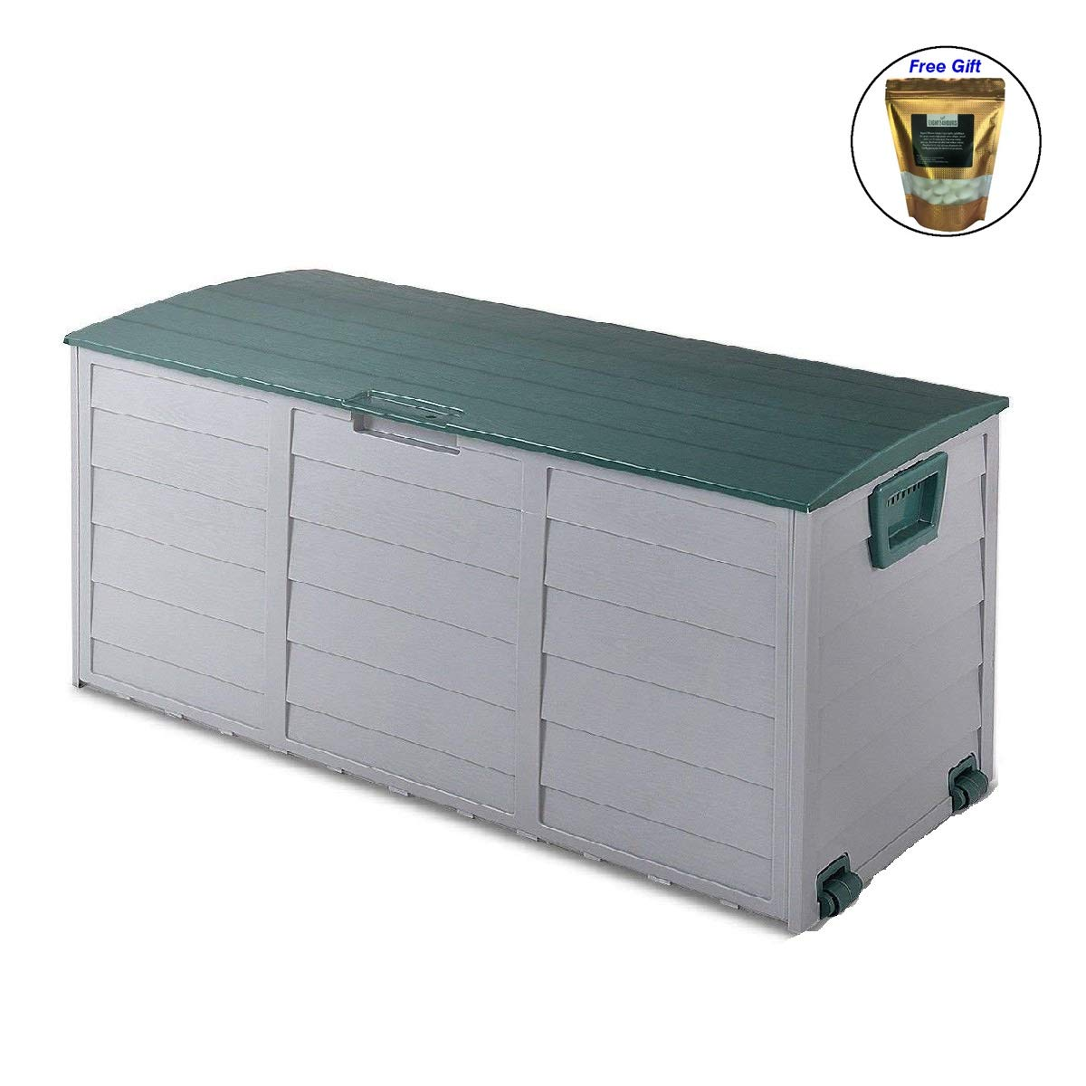 COSTWAY 70 Gallon Durable Outdoor Plasic Storage Box Only by eight24hours