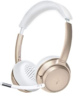 Avantree AH6B Champaign Gold Bluetooth 5.0 Headset with Detachable Microphone, Clear Talk, HiFi Music, Soft Padding, 22H, Wireless Headphones for Mac, PC, Computer, Laptop, Skype, Pink/Rose/White