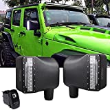 Firebug LED White Sidelight Rearview Housing W/ Yellow Turn Signal Lights+ Side Mirror Lights Switch for Jeep Wrangler JK JKU 2007 - 2017