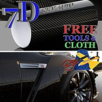 10ft X 5ft 7D Green GLOSSY Carbon Fiber Vinyl Wrap Sheet With Air Release