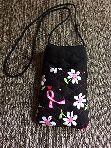 Eyeglass Phone Holder Case Wallet Neck Strap Breast Cancer Awareness Ribbon Quilted (Strap Breast Style)