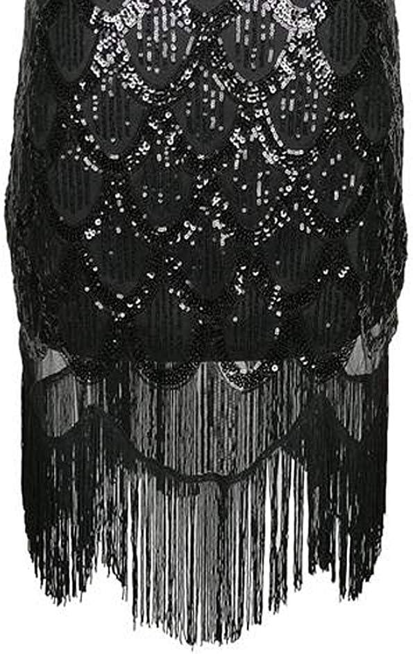 Grouptap Ann/ées 1920 Noir Gatsby Flapper Art d/éco Paillettes Scintillant Fantaisie Robe pour 1920 Femmes Paisley Vintage Cocktail Party