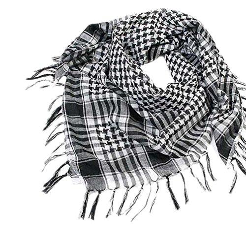 Unisex Fashion Plaid Scarf Shawl, Arab Shemagh Keffiyeh Palestine Classic Shawl Wrap for Women Men (Black) (Scarf Over)
