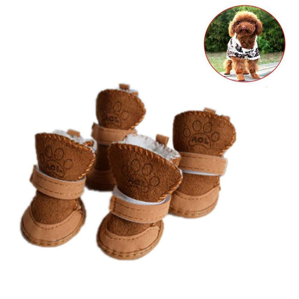 Brown S(Weight for 4.4-7.7lb) Brown S(Weight for 4.4-7.7lb) CELLTEK Puppy Dog shoes Paw Predector with Soft Plush Cotton Detachable Closure Anti-Slip Sole for Snow Walking (S(Weight for 4.4-7.7lb), Brown)