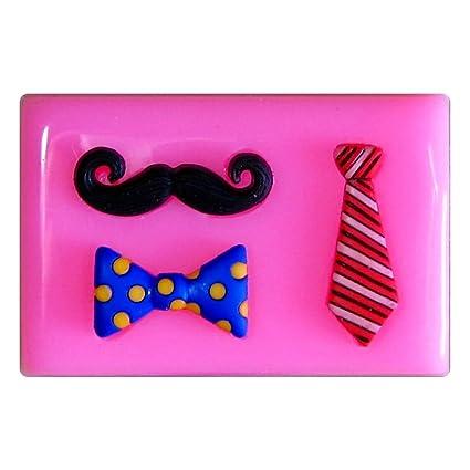 Bigote, corbata y arco Dickie Molde de silicona para la torta de Decoración Pastel de
