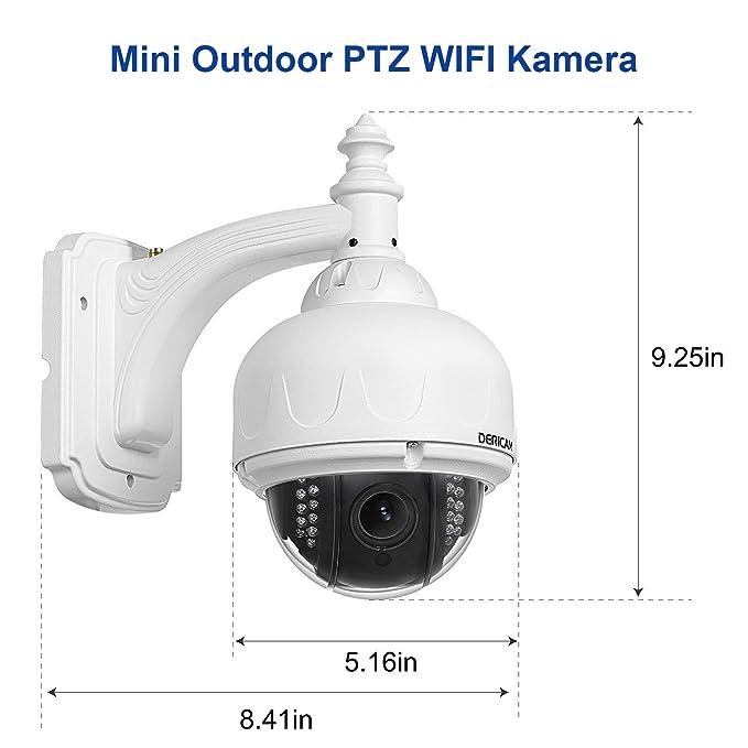 Telecamera di sicurezza Wireless esterna Dericam, telecamera WiFi PTZ, Zoom Ottico 4X, messa a Fuoco automatica, 1,3 megapixel, scheda di Memoria 32 ...