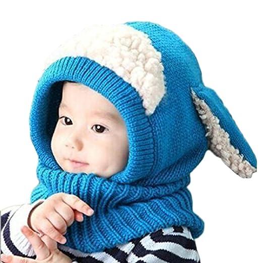 Tusong Unisex Baby Toddle Kids Winter Hat Scarf Earflap Hood Scarves Skull  Caps (Blue) f85053f1710