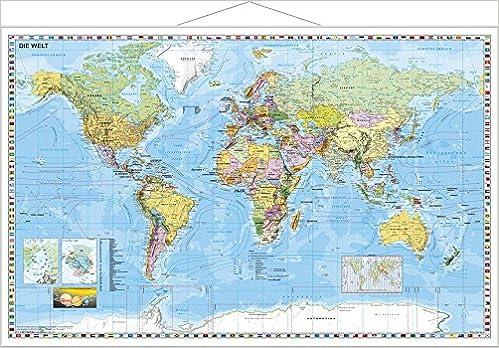 Weltkarte Deutsch Wandkarte Mit Metallbeleistung 9783938842850