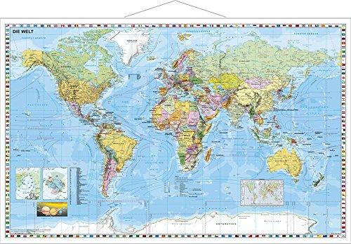 Uralgebirge Karte.Weltkarte Deutsch Großformat Wandkarte Mit Metallbeleistung Amazon