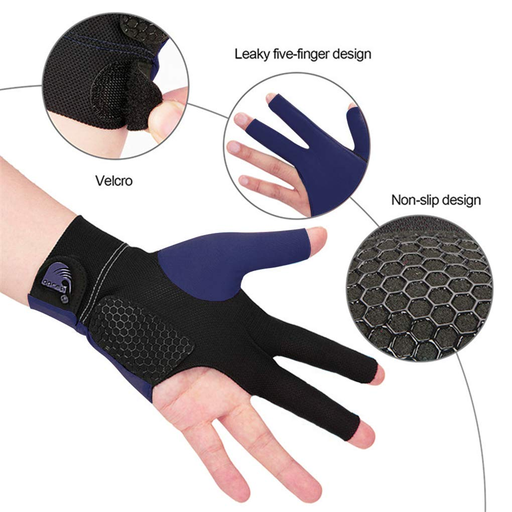 MioCloth Anti Slip Billiard Glove Left Hand Snooker Carom Billiard Pool Cue Sport Professional Lycra 3 Finger Glove Handwear Gift for Men Women Player