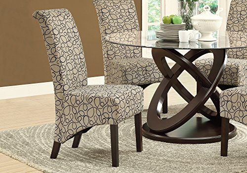 Monarch Specialties I 1789TN Swirl Fabric High Parson Chair, Set of 2 40 Tan