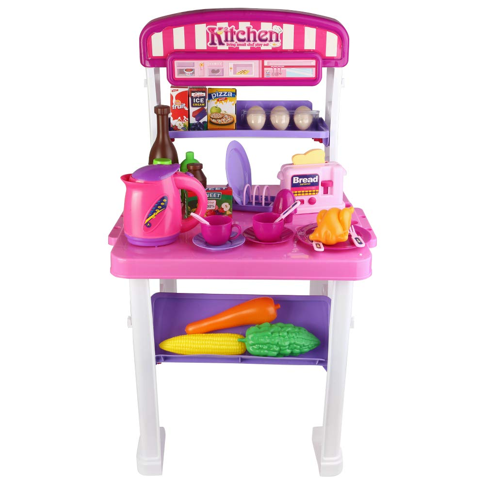Amazon com roxie pretend play kitchen toy set for kids girls boys 2 in 1 little cooks play kitchen with lights sounds deluxe portable kitchen playset