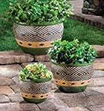 Garden Planters Set OF 3 Round Ceramic Pots Indoor & Outdoor Decorative Home Office Patio Plant Holder