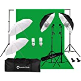 CanadianStudio Photography Umbrellas Continuous Lighting Kit, 400W 5500K, 10ft Backdrop Support System with Background…