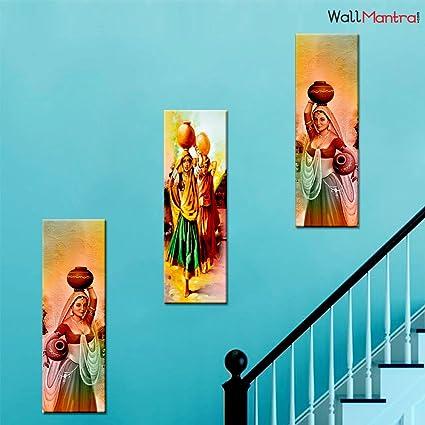 Amazon Com Wallmantra Indian Village Women Wall Painting 3 Pieces