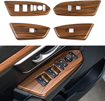For Honda CRV CR-V 2017-2018 Peach Wood Grain Inner window switch panel cover 4P With rear seat heating Buttons