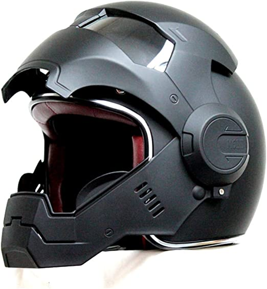Menudown Motorcycle Helmets Full Face Touring Motorbike Helmet Harley Helmet Vintage Helmet Iron Man Personality Cool Helmet Matteblack M 57 58cm Amazon Co Uk Kitchen Home