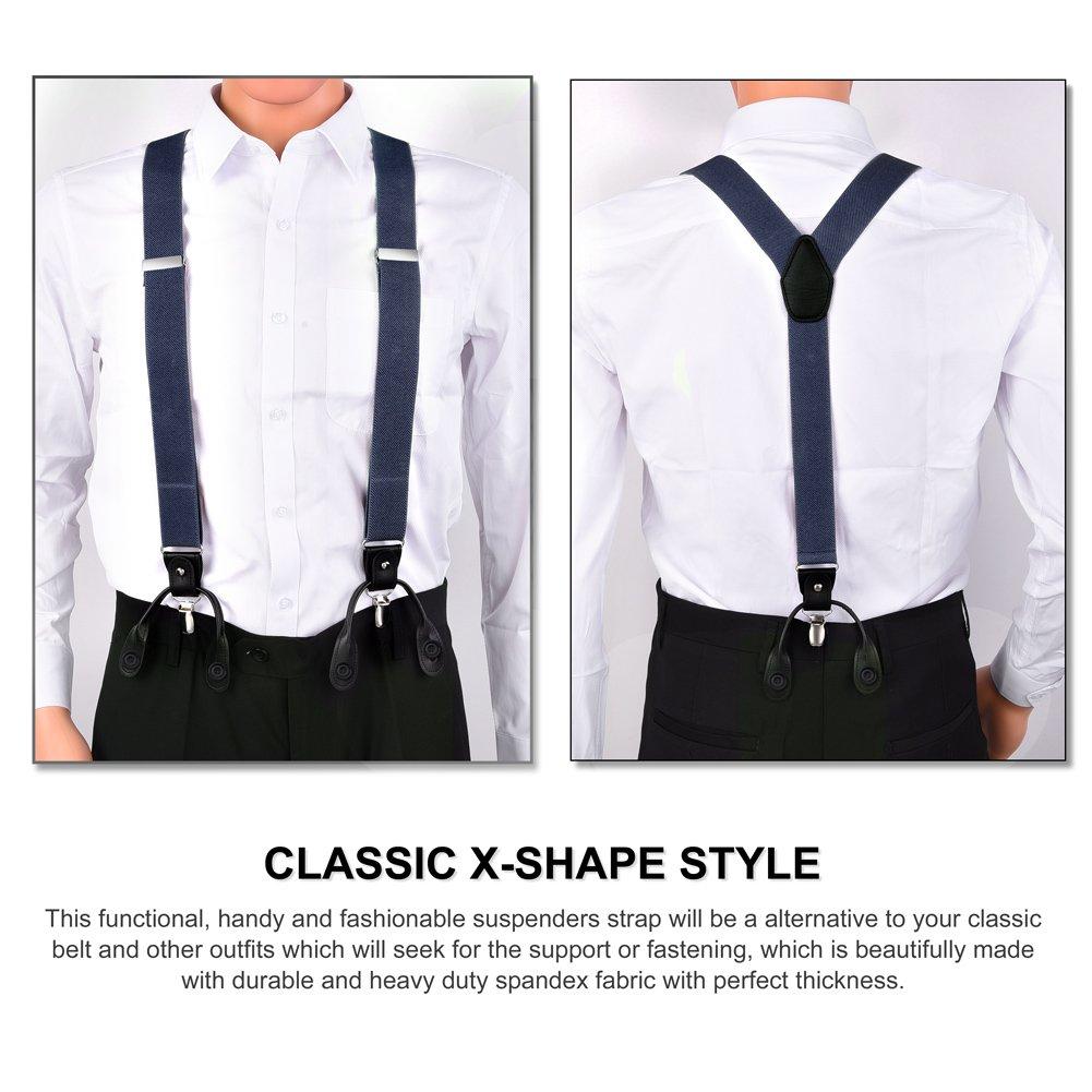 745afc9c032 Vbiger Heavy Duty Suspenders Adjustable Braces Elastic Y Shape Trouser Clips  (Navy) at Amazon Men s Clothing store
