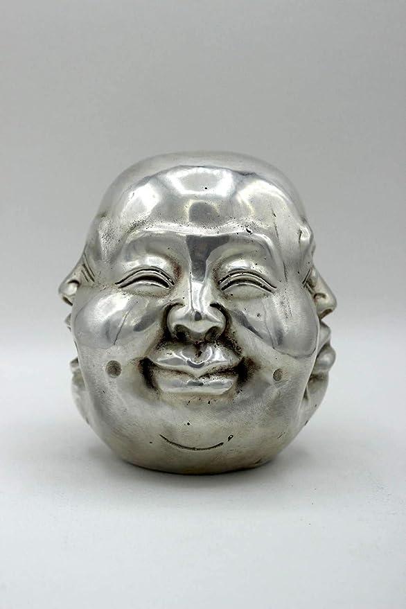 6cm Happy Buddha Kopf 4 Gesichter Bronze Figur Hotai China AsienLifeStyle