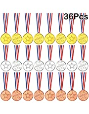 FEPITO 36 Stks Winnaar Medailles Kids Plastic Gouden Medailles Zilveren Medailles en Bronzen Medailles voor Kids Party Favor Decoraties en Sport Awards