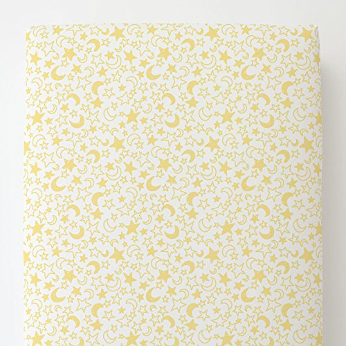 Carousel Designs Banana Yellow Moon and Stars Toddler Bed Sheet Fitted by Carousel Designs