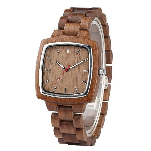Reloj de Cuarzo de Madera Natural para Hombres, Relojes de Madera Cuadrados de Negocios para Adolescentes, Reloj de Pulsera Casual de Madera para niño: ...