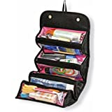 Hgtai Zipper Pouch Toiletry Organizer Roll N Go Roll Up Foldable Clear Organizer Multifunction Large Capacity for Cosmetics, Jewelry, Electronics, Travel Accessories(Black)