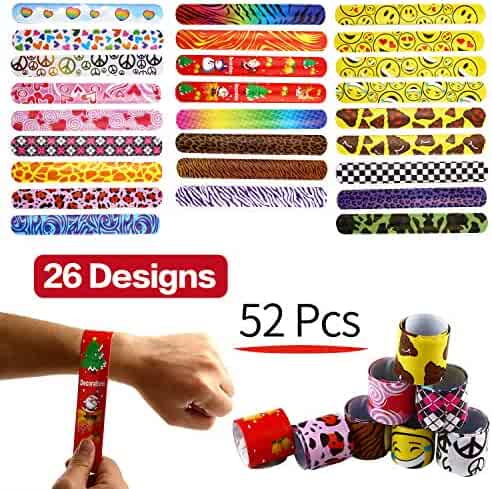 Yeonha Toys Bracelets Party,52 Pack Slap Bracelets (26 Design), Slap Bands with Colorful Hearts,Emoji,Peace,Animal Prints Toys Party Favors Birthday School Classroom Prize for Kids Boys Girls Adults