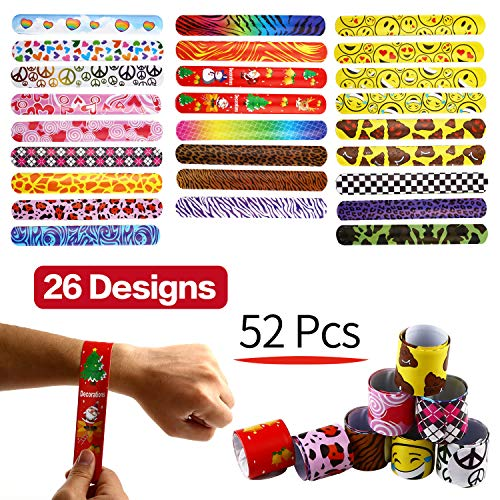 Bracelets Party,52 Pack Slap Bracelets (26 Design),Yeonha Toys Slap Bands with Colorful Hearts,Emoji,Peace,Animal Prints Toys Party Favors Birthday School Classroom Prize For Kids Boys Girls Adults