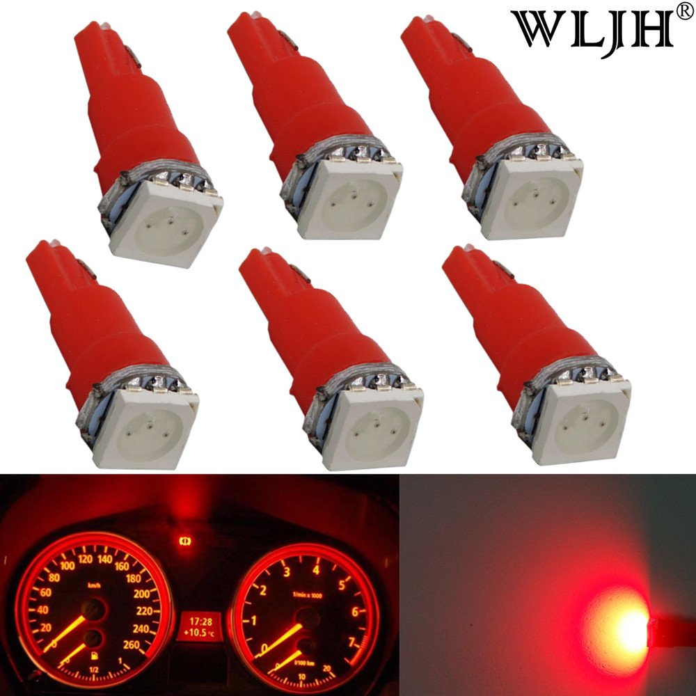 WLJH Pack 6 T5 Wedge 5050 1-SMD LED Light Bulbs 18 70 73 Red Dashboard instrument Panel Light Bulbs LED Lamps, Plug and Play