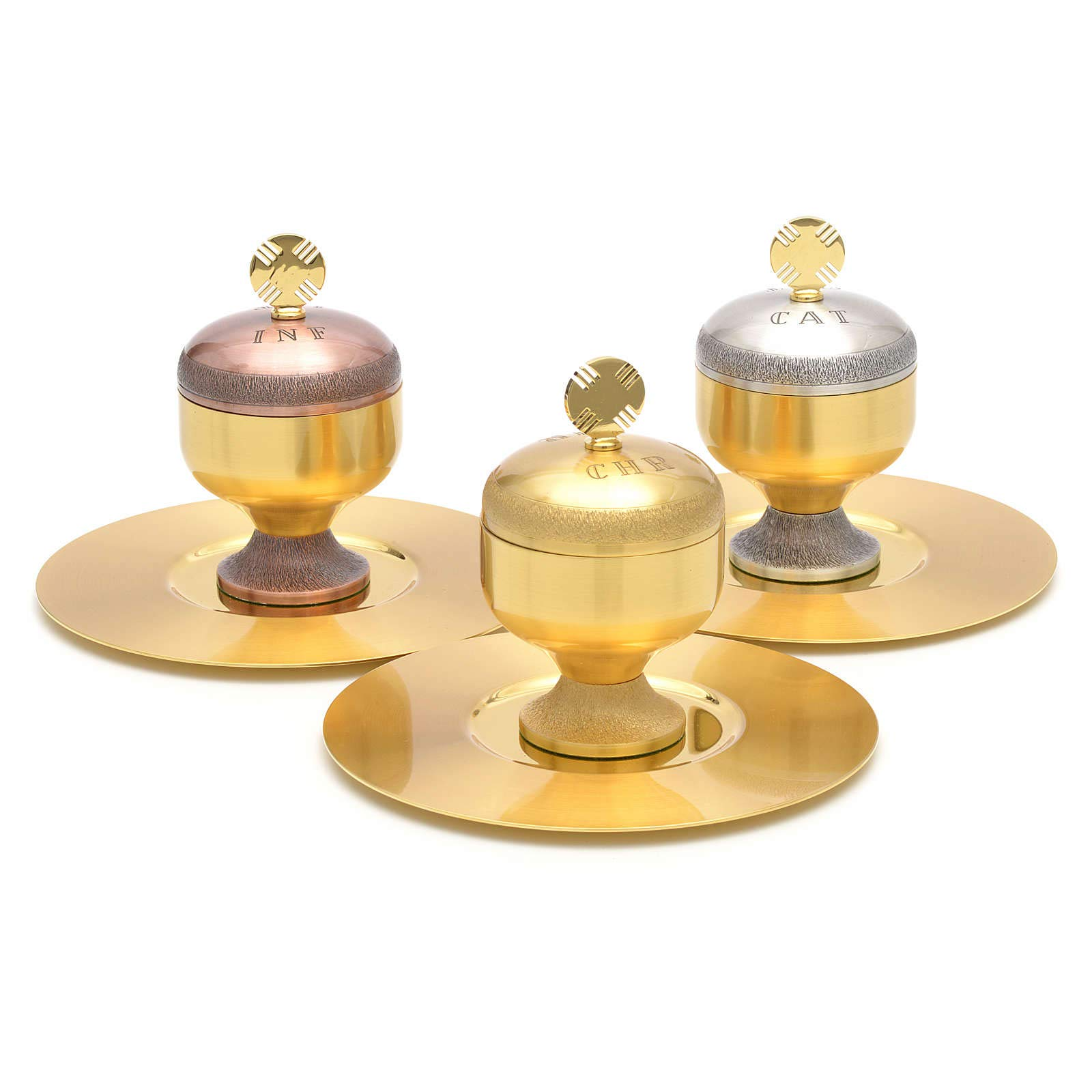 Holy Oils: Stocks in Gold Plated Brass with a Saucer, Catechumens