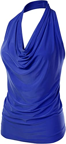 FLORIA Women's Halter Neck Ruched Draped Stretchy Sexy Backless Tank Top (S-XL)