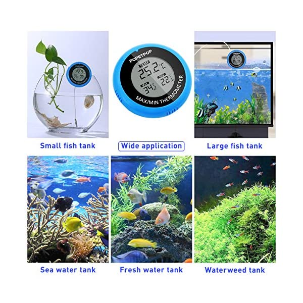 POPETPOP LCD Digital Aquarium Thermometer High Precision Digital Fish Tank Thermometer for Aquarium/Pond/Reptile Turtles Habitats (Blue) 6