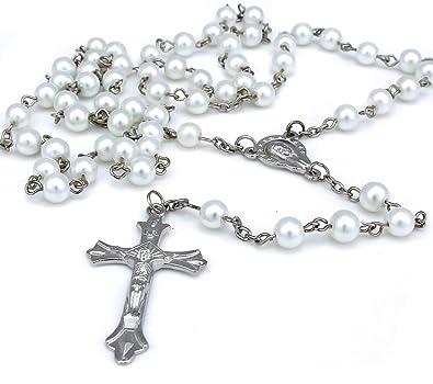 62dcbec8d57 Long chapelet avec perles en verre et croix en argent pour femme homme Blanc