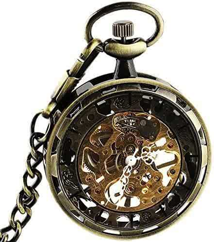 Bronze Steampunk Mechanical skeleton Hand Winding Pocket watch with chain Fob for Men Woman