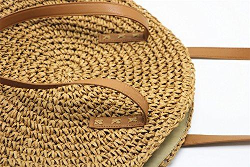 À Main Camel À Main Sac Weave De Paille Round ANUAN Purse Sacs À Bandoulière Femmes Et Sac Summer Beach q4UEa5ggwx
