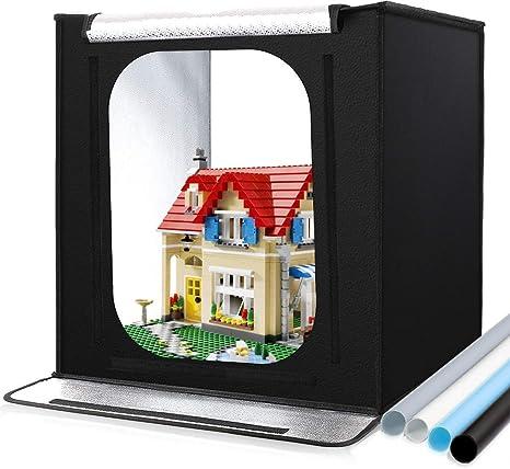 Caja de Fotografía, 24x24x24/60 * 60 * 60cm 88LEDs 3400lm Caja de Luz Photo Studio Kit Portátil para Fotografía con 4 Fondos y Bolsa de Transporte: Amazon.es: Electrónica