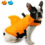 Snik-S Dog Life Jacket- Preserver with Adjustable Belt, Pet Swimming Shark Jacket for Short Nose Dog (Pug,Bulldog,Poodle,Bull