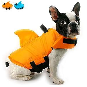 Snik-S Dog Life Jacket- Preserver with Adjustable Belt, Pet Swimming Shark Jacket for Short Nose Dog (Pug,Bulldog,Poodle,Bull Terrier)