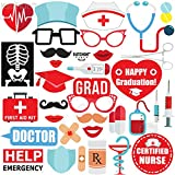 KATCHON NURSE GRADUATION PHOTO BOOTH PROPS - Pack of 33 | Great Graduation Decorations for 2018 Graduation Party Supplies | Doctor Nurse Graduation Party Supplies Theme | DIY Required