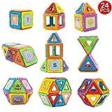 aonibao 24PCS Standard Size Magnetic Blocks Magnetic Building Blocks Magnet Tiles Set Educational Stacking Blocks Educational Toys