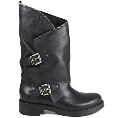 seleziona per genuino design raffinato come comprare In Time Stivali Biker Boots Invernali con Fibbie e Cerniera Donna 0315 Nero  in Vera Pelle Made in Italy Morbidi Comodi